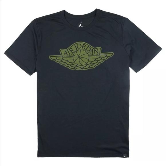 a1aa9be3f8c Jordan Shirts | Triblend Iconic Wings Tshirt Black Green | Poshmark